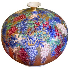 Japanese Imari Contemporary Gilded Porcelain Vase by Master Artist, Hand-Painted