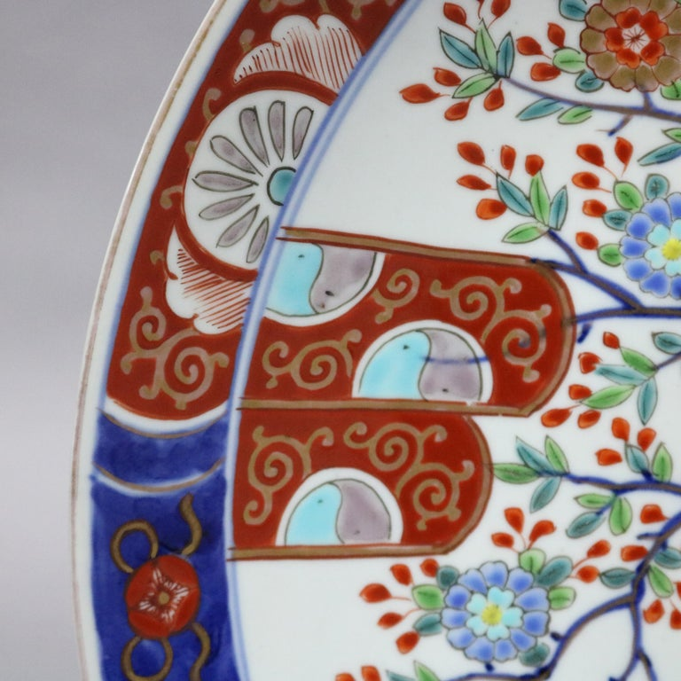 20th Century Japanese Imari Hand Enameled Porcelain Pictorial Charger For Sale