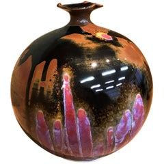Japanese Imari Hand-Glazed Black Blue Red Porcelain Vase by Contemporary Artist