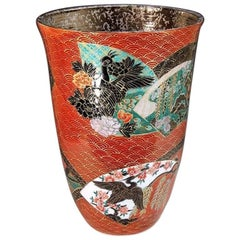 Japanese Imari Large Platinum-Gilded Red Porcelain Vase by Master Artist, 2018
