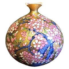 Japanese Gold Pink Blue Porcelain Vase by Contemporary Master Artist
