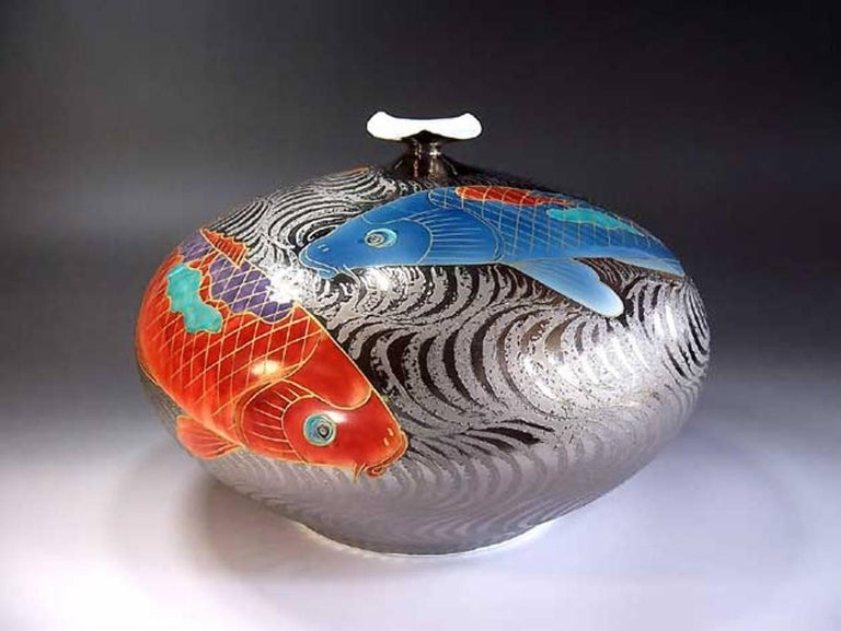 Gilt Large Contemporary Imari Red Blue Gilded Porcelain Vase by Master Artist For Sale