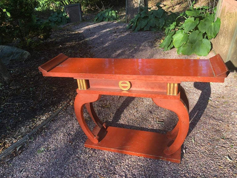 Japan antique handmade, hand carved, and hand lacquered altar table finished in stunning red lacquer - signed Meiji 28th year, 1895.  A beautiful architectural master work from an old private Japanese collection. Crafted in a convenient