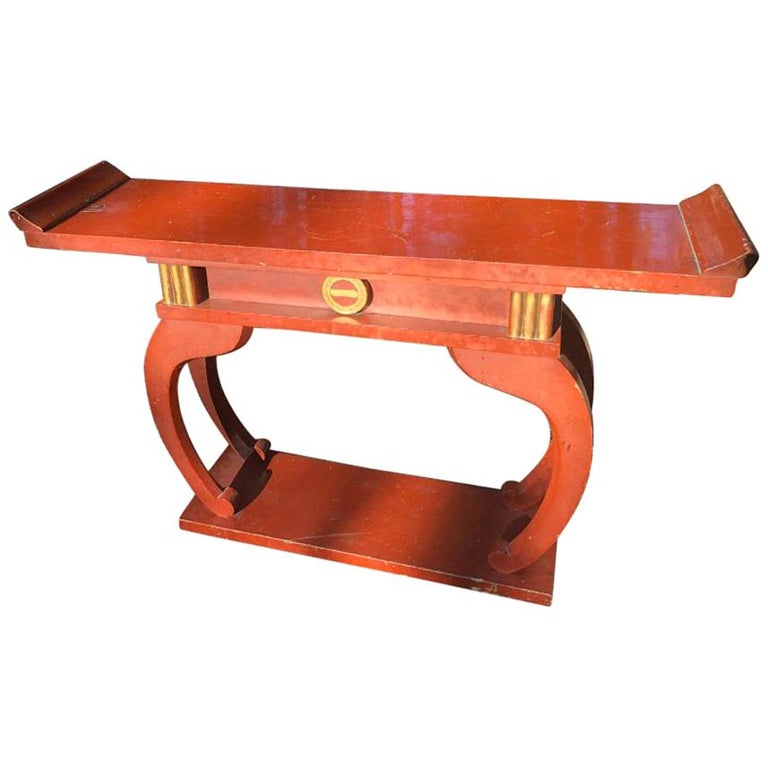 """Japanese Important Antique """"Shinto Red Lacquered Altar Table"""", Signed 1895 For Sale"""