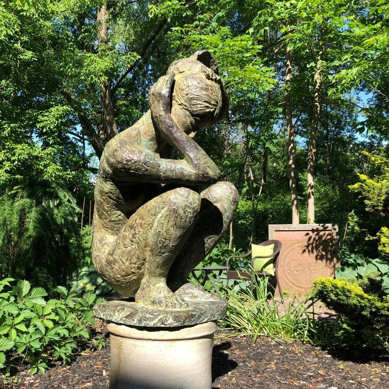 Japan an important large scale sculpture of a pensive, crouching female nude by midcentury sculptor Mine Takashi ??, (1914-2003) entitled