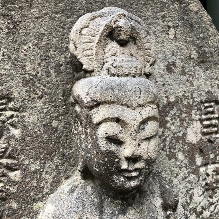18th Century and Earlier Japanese Important Stone Kanon Guan Yin Beautiful Face and Adoration Pose For Sale