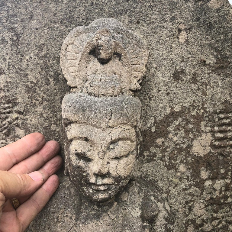 Japanese Important Stone Kanon Guan Yin Beautiful Face and Adoration Pose For Sale 1