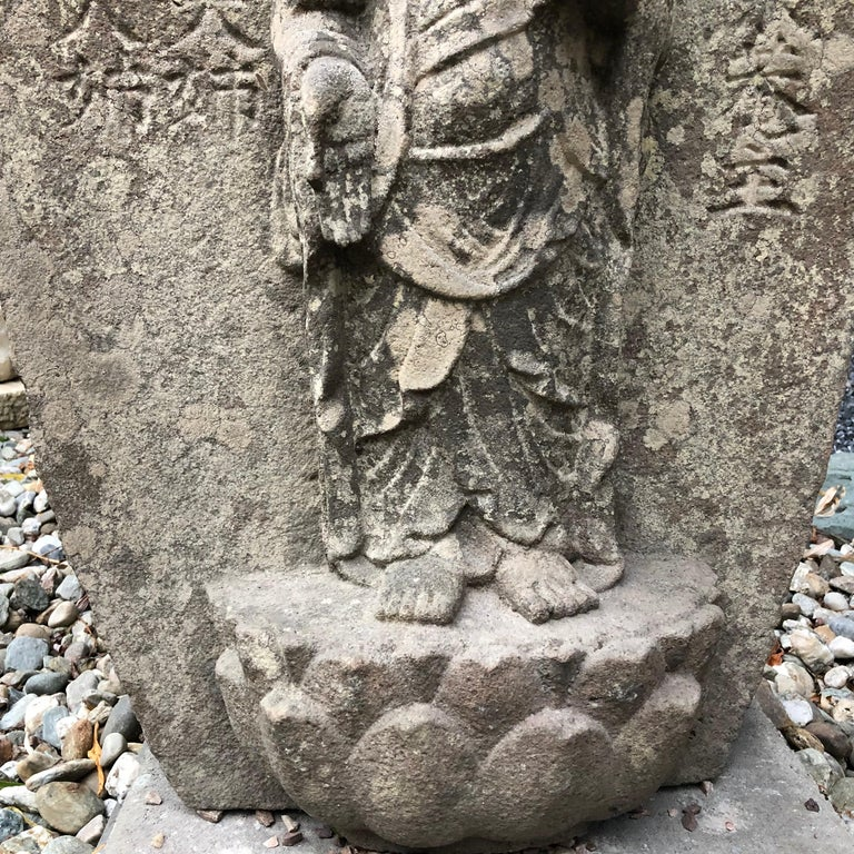 Japanese Important Stone Kanon Guan Yin Beautiful Face and Adoration Pose For Sale 3