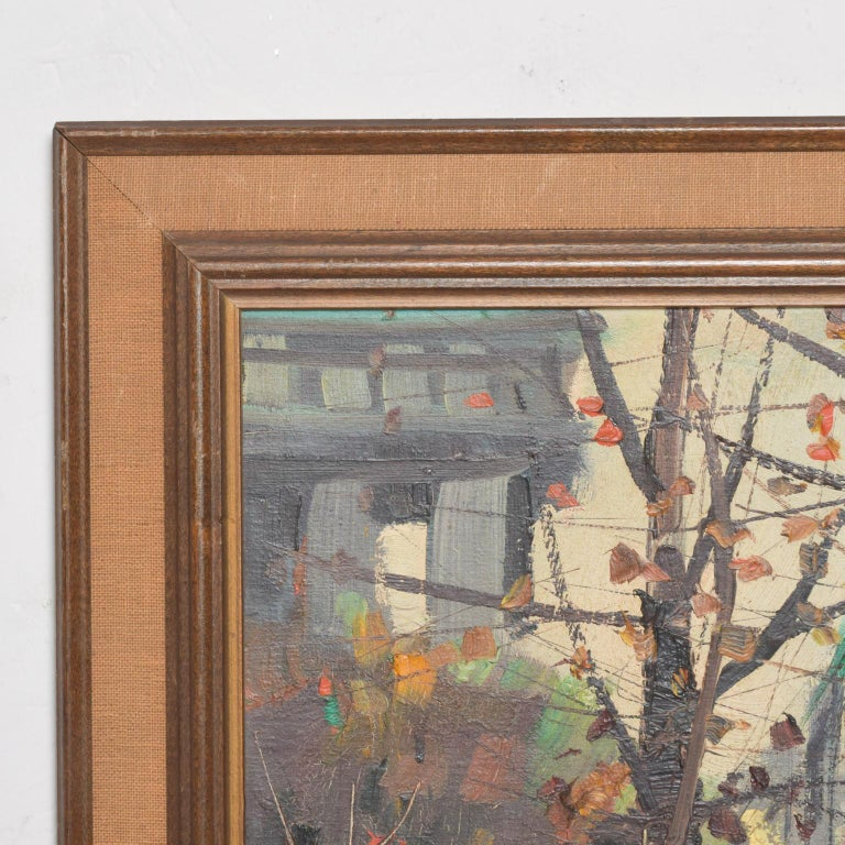 For your pleasure: Japanese influenced Art of Europeanlandscape painting oil on wood/masonite signed on the lower left. Unable to read signature. Original frame.  Dimensions: 17