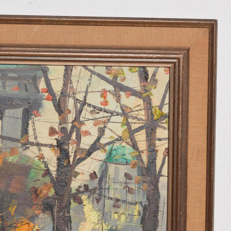 Expressionist Japanese Influenced Mid Century Modern Art European Landscape Oil Painting For Sale