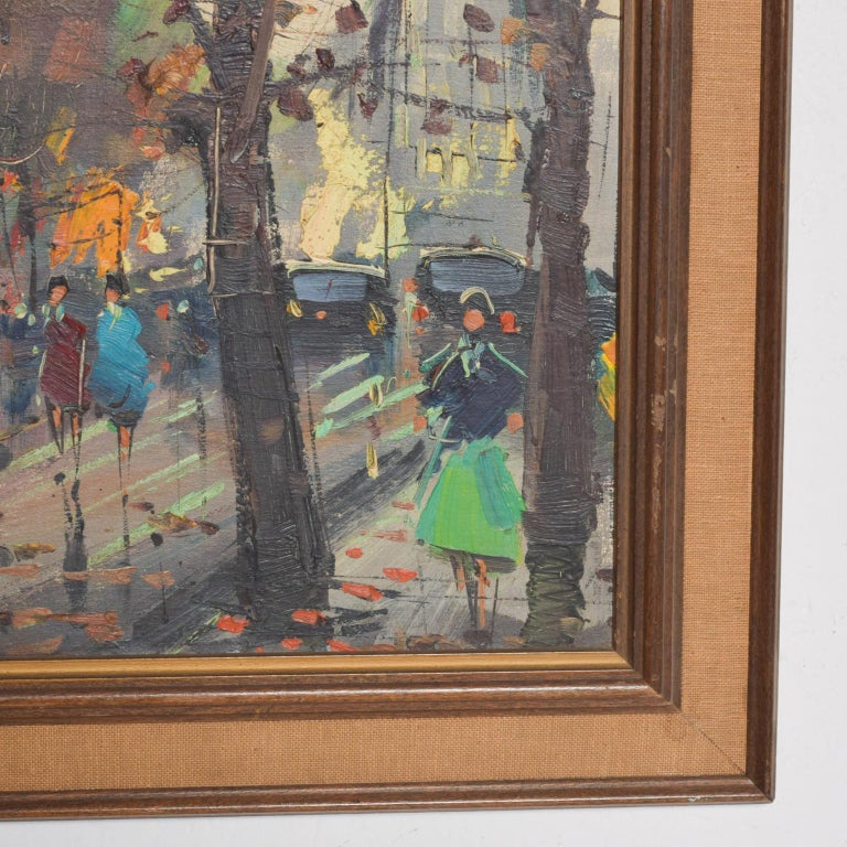 American Japanese Influenced Mid Century Modern Art European Landscape Oil Painting For Sale