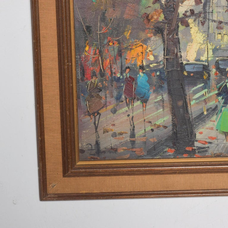 Japanese Influenced Mid Century Modern Art European Landscape Oil Painting In Good Condition For Sale In National City, CA