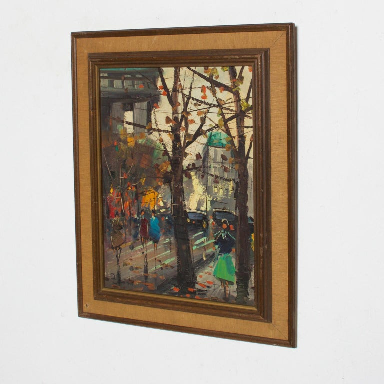 Late 20th Century Japanese Influenced Mid Century Modern Art European Landscape Oil Painting For Sale