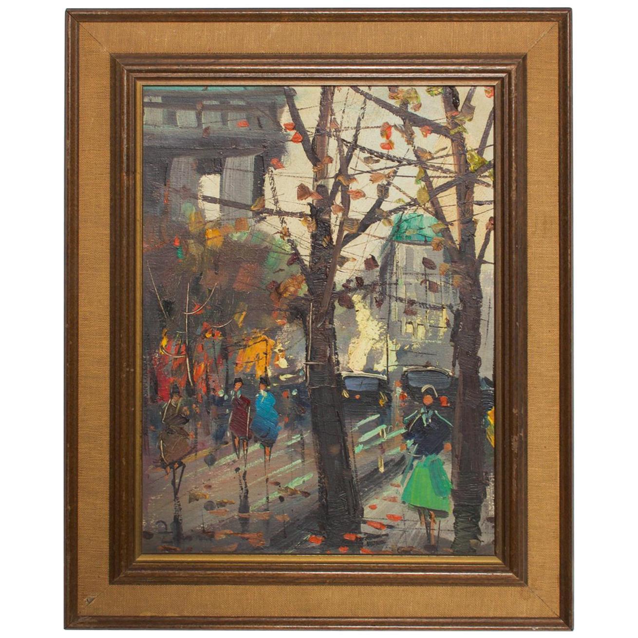 Japanese Influenced Mid Century Modern Art European Landscape Oil Painting