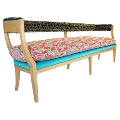 Japanese Inspired Bench with Wild Cat Print and Faux Fur