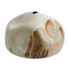 Japanese Inspired Ivory Brown Sienna Handmade Ceramic Vase Wabi Sabi