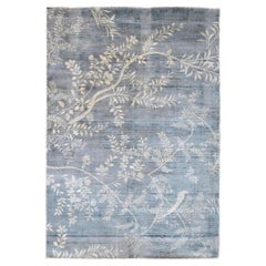 Japanese Inspired White Faded Blue Rug by Deanna Comellini 160x230 cm