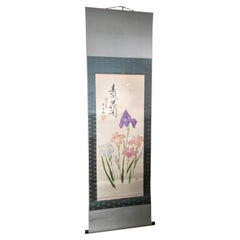 "Japanese ""Iris Bouquet"" Silk Scroll, Hand Painted, Fine Condition"