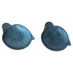 Japanese Iron Bird Bowls or Incense Burners