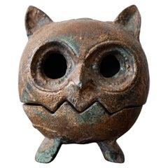 Japanese Iron Owl Lantern Incense Burner