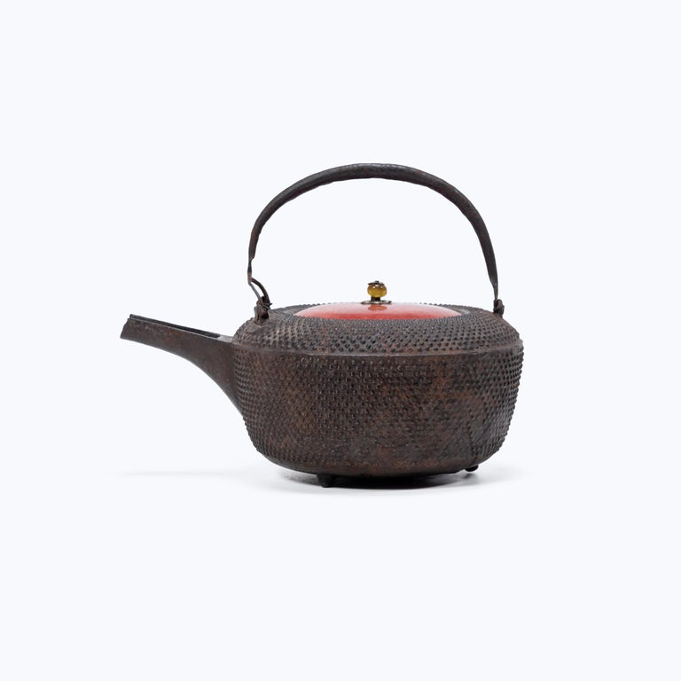 Meiji Japanese Iron Tetsubin with Red Lacquer Lid, c. 1900 For Sale