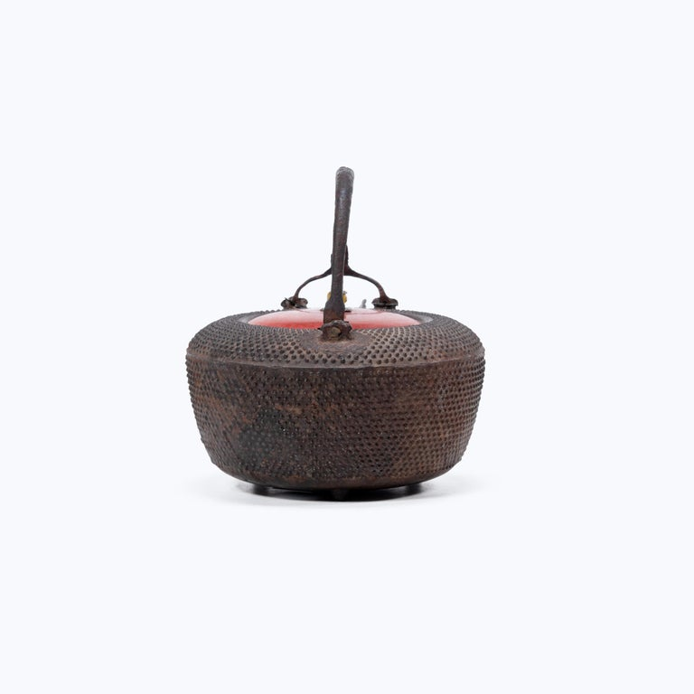 Cast Japanese Iron Tetsubin with Red Lacquer Lid, c. 1900 For Sale