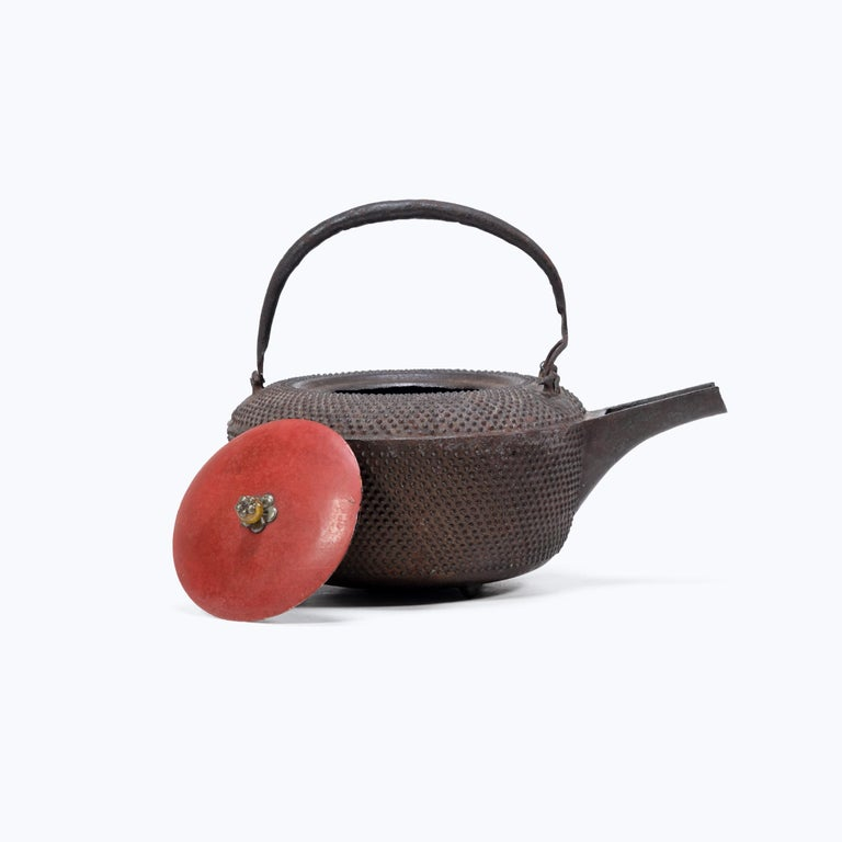 20th Century Japanese Iron Tetsubin with Red Lacquer Lid, c. 1900 For Sale
