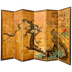 Japanese Jean Dunand Style Art Deco Gilt Folding Screen