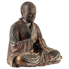 Japanese Kamakura/Muromachi Period Cedarwood Buddhist Priest, 12th-15th Century