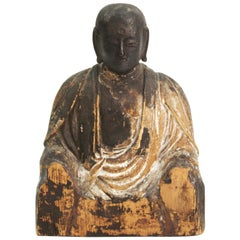 Japanese Kamakura Seated Jizo Bosatsu Buddha Sculpture in Carved Wood