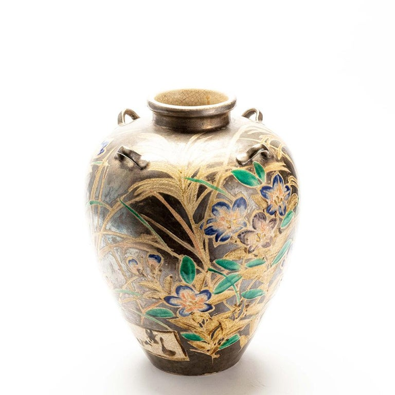 Hand-Painted Japanese Kenzan Style Classically Shaped Vase with Floral Design For Sale