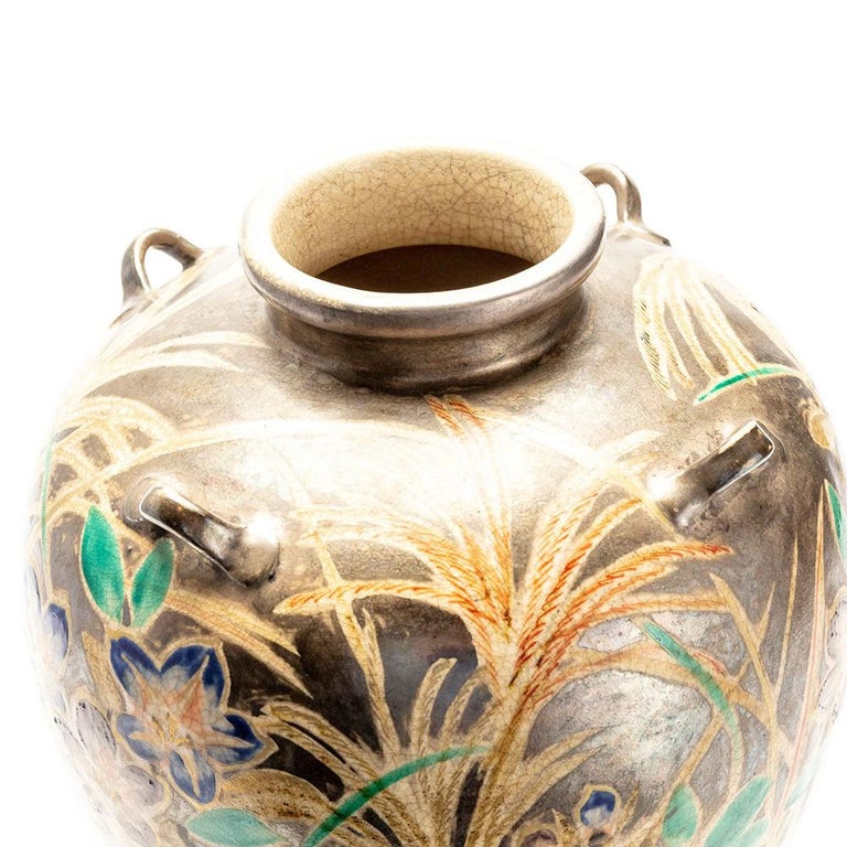 19th Century Japanese Kenzan Style Classically Shaped Vase with Floral Design For Sale