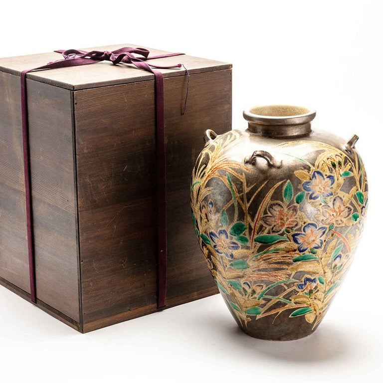 Ceramic Japanese Kenzan Style Classically Shaped Vase with Floral Design For Sale