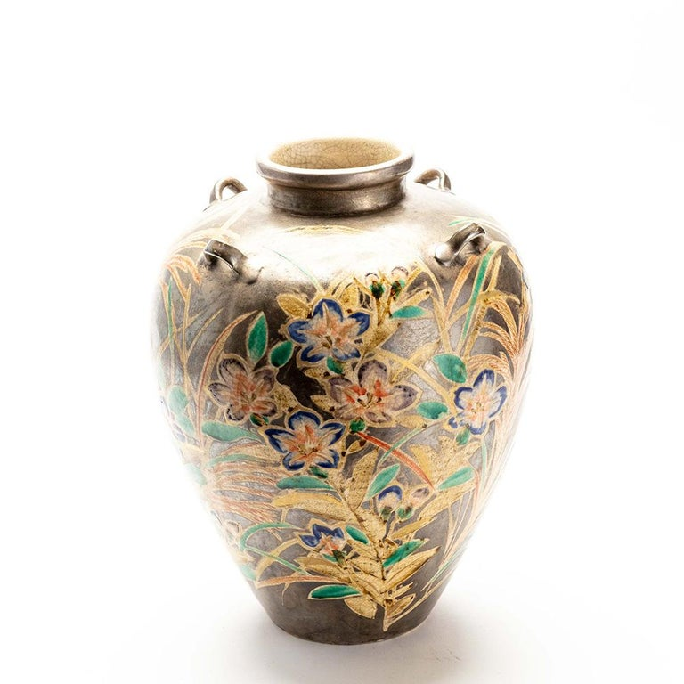 Japanese Kenzan Style Classically Shaped Vase with Floral Design For Sale 1