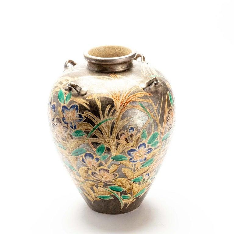 Japanese Kenzan Style Classically Shaped Vase with Floral Design For Sale 2