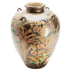 Japanese Kenzan Style Classically Shaped Vase with Floral Design
