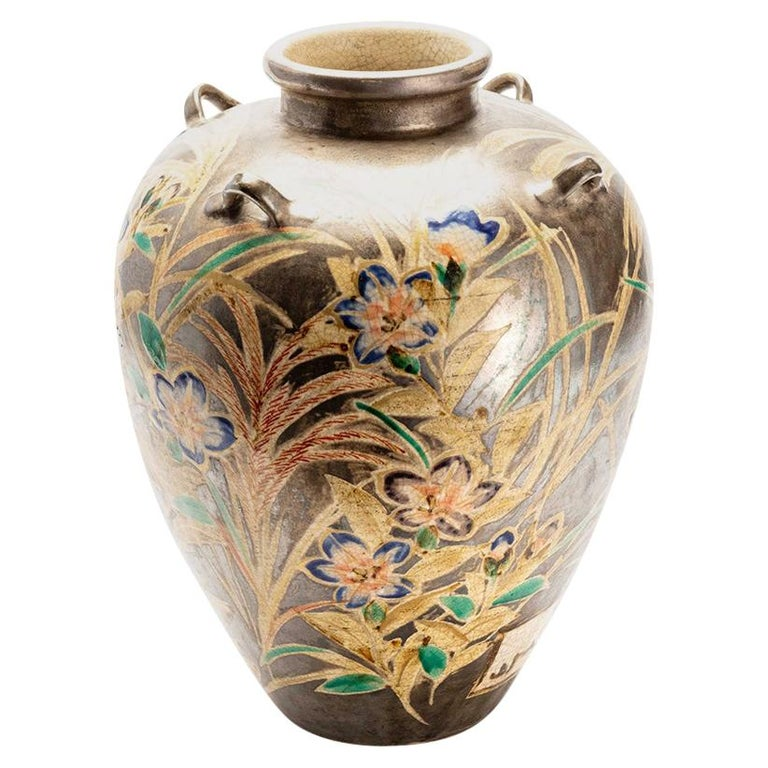 Japanese Kenzan Style Classically Shaped Vase with Floral Design For Sale