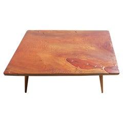 Japanese Keyaki Wood Coffee Table with Bowtie Keys