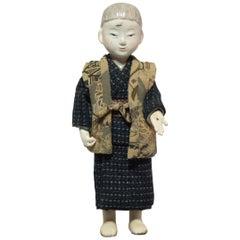 Japanese Kimekomi Boy Doll Wearing Silk Kimono, Style of Taisho Romence, 1920s