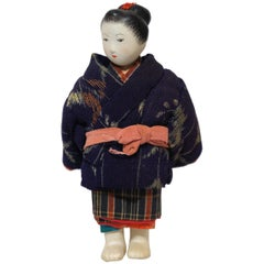 Japanese Kimekomi Child Doll Wearing Silk Kimono, Style of Taisho Romence, 1920s