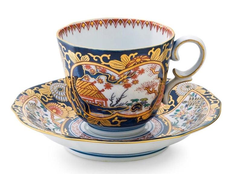 Gilt Japanese Ko-Imari Gilded Two-Tiered Lidded Decorative Porcelain Box For Sale