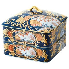 Japanese Ko-Imari Gold Blue Two-Tiered Lidded Porcelain Box