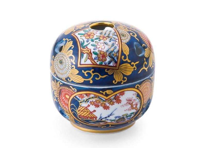 Gilt Japanese Blue Red Ko-Imari Porcelain Lidded Temple Jar For Sale