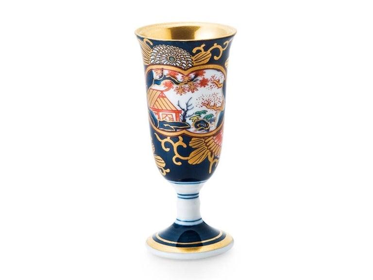 Gold Japanese Blue Red Ko-Imari Porcelain Lidded Temple Jar For Sale
