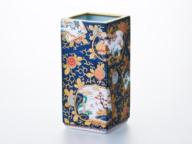 Japanese Blue Red Ko-Imari Porcelain Lidded Temple Jar For Sale 1