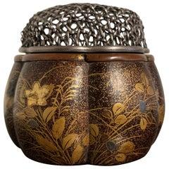 Japanese Kodai-ji Style Lacquer Incense Burner, Akoda Koro, Momoyama Period