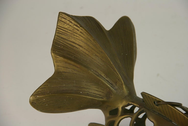 Japanese Koi Fish Brass Garden Candle Tea Lantern Sculpture For Sale 5