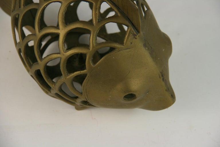 Japanese Koi Fish Brass Garden Candle Tea Lantern Sculpture For Sale 6