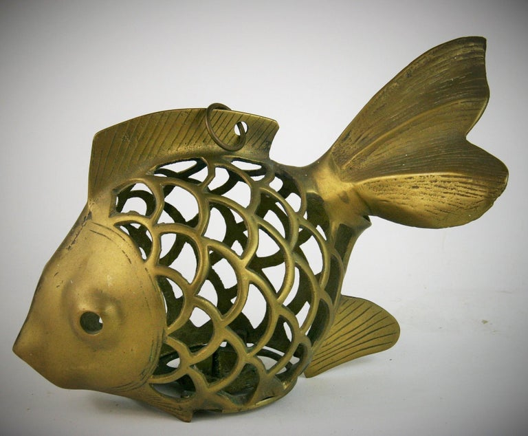 3-435 Japanese brass Koi fish garden candle lantern sculpture Can be place flat or hung by loop on top.