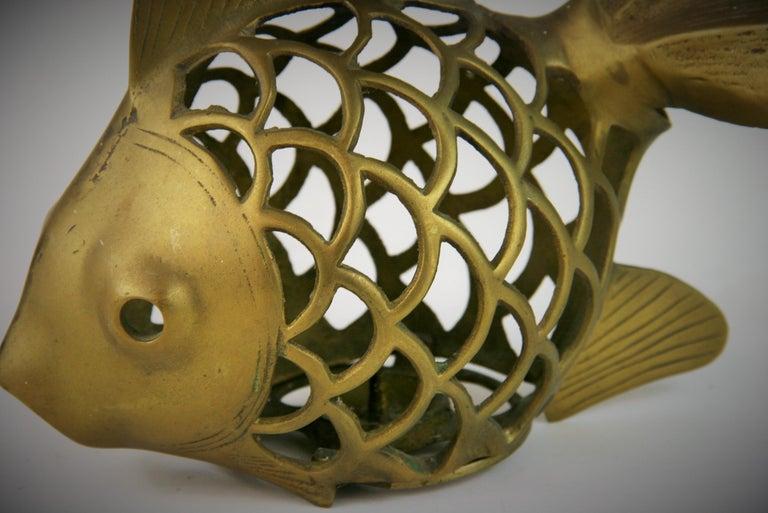 Asian Japanese Koi Fish Brass Garden Candle Tea Lantern Sculpture For Sale